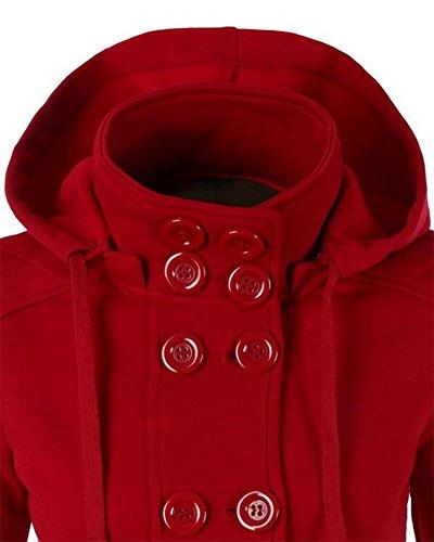 Mujer Abrigo Chaqueta de Paño Doble Botones Clásico Jacket Sudadera con Capucha Rojo