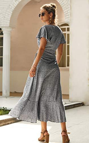 990f18da56 ECOWISH Women's Bohemian Floral Printed Wrap V Neck Short Sleeve High Split  Beach Party Maxi Dress