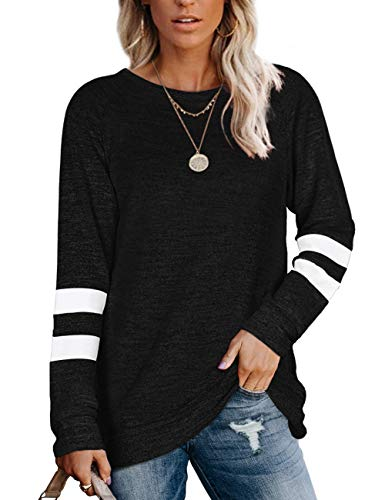 NSQTBA Womens Crewneck Sweatshirts Color Block Long Sleeve Sweaters Tunic Tops
