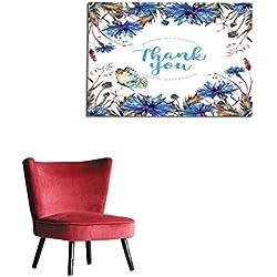 "homehot Wallpaper Watercolor Cornflowers Greeting Card Template Mural 36""x32"""