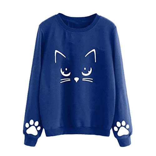 Blouses for Womens,DaySevevnth Women Autumn and Winter Cat Weater Round Neck Long Sleeve Regular Blouse BU/XL
