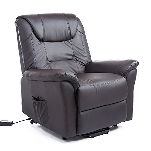 - HomCom Faux Leather Three Position Power Lift Chair Recliner with Remote - Dark Brown