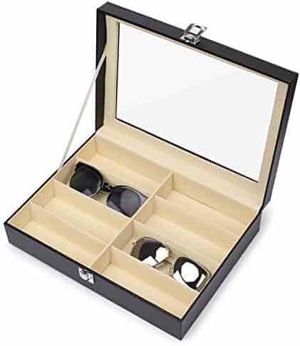 Juns Sunglasses Eyeglass Organizer, 8 Slots PU Leather Eyewear Storage Box Jewelry Display Case Watch Box with Glass Lid