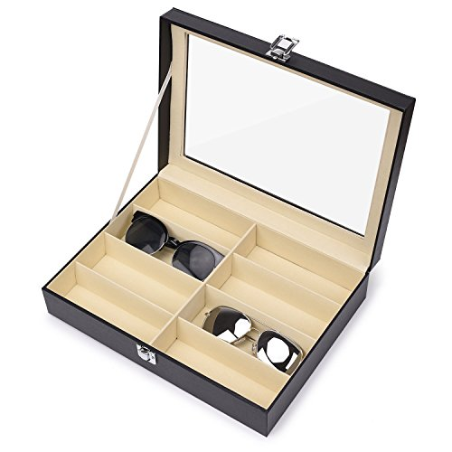 Juns Sunglasses Eyeglass Organizer, 8 Slots PU Leather Eyewear Storage Box Jewelry Display Case Watch Box with Glass Lid by Juns