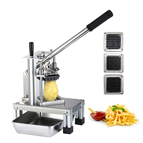 "SAYA French Fry Cutter, Commercial Grade Potato Slicer w/Extended Handle & Food Plate, Manual Cutting Machine w/ 304 Stainless Steel Blades of Size 1/4"" 1/2"" 3/8"", Great for Fruits & Vegetables"