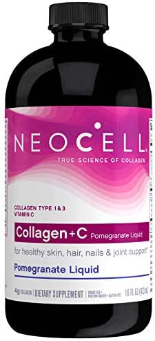 NeoCell Collagen +C Pomegranate Liquid, 4g Collagen Types 1 & 3 Plus Vitamin C, Healthy Skin, Hair, Nails  and Joint Support  16 Ounces (Packaging May Vary)