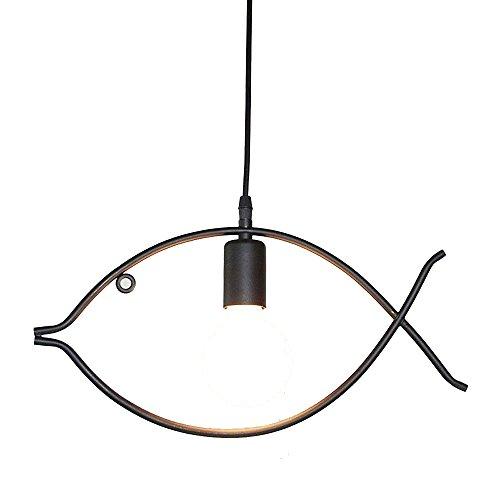 Wsxxn Industrial Retro Adjustable Single Head Iron Art Pendant Light Unique Fish Exterior Chandelier Hanging Lamp Restaurant Child Room Ceiling Lighting Fixtures -