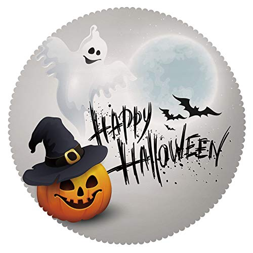 Anti-Bacterial Round Tablecloth [ Halloween,Happy Celebration Typography Stained Look Cute Ghost Pumpkin Hat Print Decorative,White Black Orange ] Decorative Tablecloth Ideas