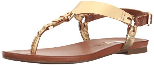 ALDO Women's Joni Flat Sandal, Gold, 7 B US