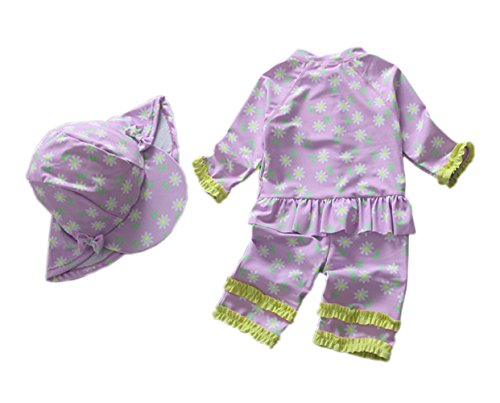 One Piece Infant Swimsuit Ruffle (Baby Toddler Girls Princess Ruffle Swimsuit One Piece Bathing Suit UV Sun Protective Surfing Suit UPF 50+ Purple 24-36M)