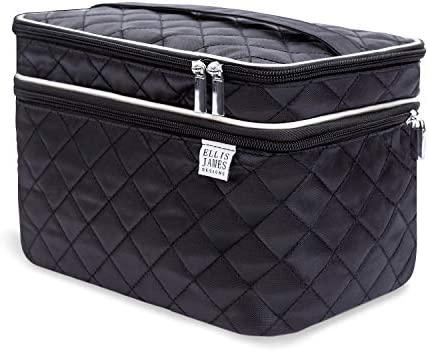 a446b6ae60fbfb Ellis James Designs Large Travel Makeup Bag for Women - Black Make Up Bag  for Women