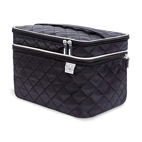 Ellis James Designs Large Travel Makeup Bag for Women – Black Make Up Bag for Women – Travel Cosmetic Bag – Makeup Case Gifts for Women, Makeup Organizer Bag, Travel Toiletry Bag for Women