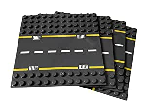 Apostrophe Games Large Building Block Base Plates Compatible with All Major Brands (Roads 4 Pack)