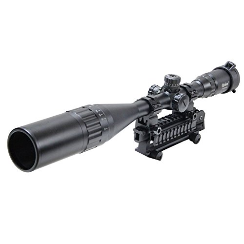 Freehawk® Rifle scope/Gun scope/Gun sights 6-24x50mm Optics Hunting AOE Red & Green& Blue Mil-dot Reticle Illuminated Crosshair Adjustable Intensified Rifle Scope with Free Mounts and Lens (Millet Tactical Rings)
