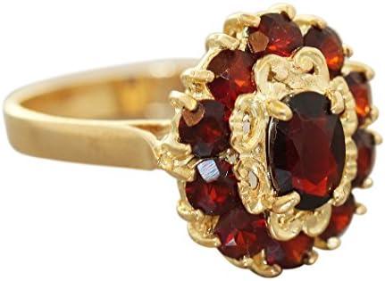 Hobra Gold Ring Gold 750 Granatring Damenring 18 Karat