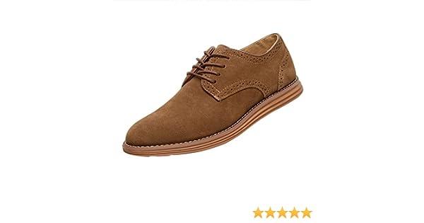 Gleader NUEVOS zapatos de gamuza de cuero de estilo europeo oxfords de los hombres casuales 999 Poco Bronceada(tamano 41)