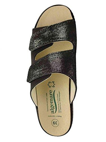 Algemare Kvinders Læder Muldyr 'nubuck Glitter'keilpantolette Med Alger-kork Udskifteligt Made In Germany 1447_0406, Størrelse: 39