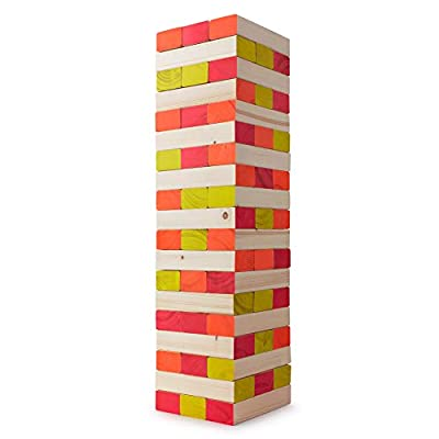 LIMELITE GAMES Ultimate Black Light Giant Tumbling Tower - Entertain Your Large Group Day Or Night - Glowing Blocks - Premium Carrying Case - Precision Milled Wooden Stacking Block Set: Toys & Games
