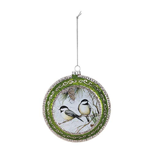 (DEMDACO Chickadees Glittered 4.5 Inch Glass Hanging Christmas Disk Ornament)