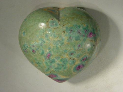 - Ruby in Fuschite Puff Heart Healing Lapidary Carving