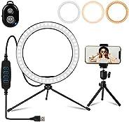"""Luz de anillo para selfie de 10,2"""" con trípode, IKAAMA soporte para teléfono y mando a distancia Bluetoot"""