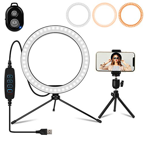 Ring Light, 10inch Outer Dimmable Camera Photo Video LED Lighting Kit, 3 Light Modes and 10 Brightness Level, Adjustable Color Temperature 2200K-12000K, with Tripod Stand & Phone Holder for Portrait