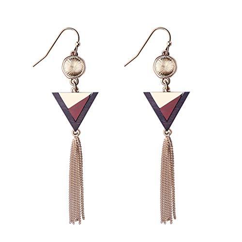 (Jocund Women Long Semi-Precious Stones Tassel Earrings Female Stitching Retro Earrings Female)