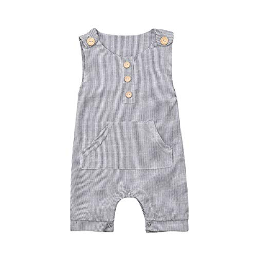 Newborn Baby boy Girl Romper Jumpsuit Sleeveless Animal Cartoon Print Bodysuit Overalls Outfits Clothes (Grey-Pinstripes, 0-3 Months)