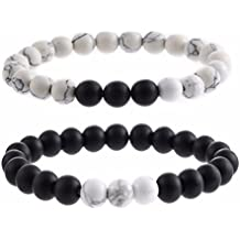 Botrong Bracelet,Natural Sub-black Gravel White Turquoise Yoga Couple Beads Bracelets Jewelry for Women Men (B)