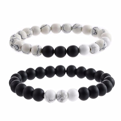Botrong Bracelet,Natural Sub-black Gravel White Turquoise Yoga Couple Beads Bracelets Jewelry for Women Men (B) ()