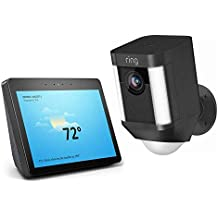 Ring Spotlight Cam Battery HD Security Camera with Built Two-Way Talk and a Siren Alarm - Black with Echo Show (2nd Gen) - Charcoal