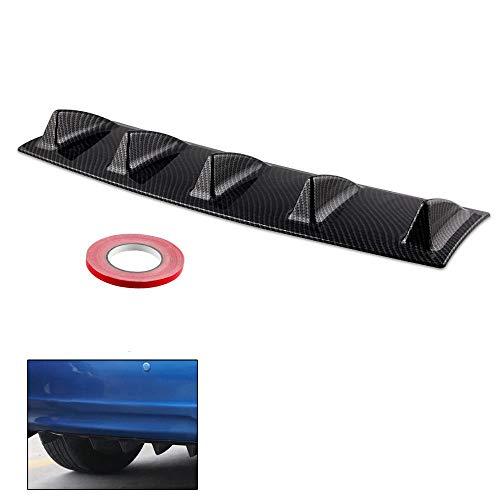 K KARL Rear Bumper Lip Diffuser ABS Universal with 5 Shark Fin Carbon Fiber (Medium) (Carbon Rear Diffuser)