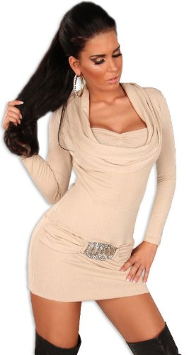 koucla–Vestido de punto para & Jersey con aspecto de recorte en cascada Beige