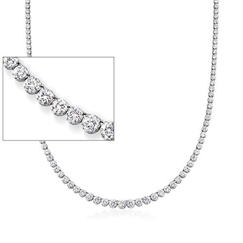 Ross-Simons 22.00 ct. t.w. Graduated CZ Tennis Necklace in Sterling Silver