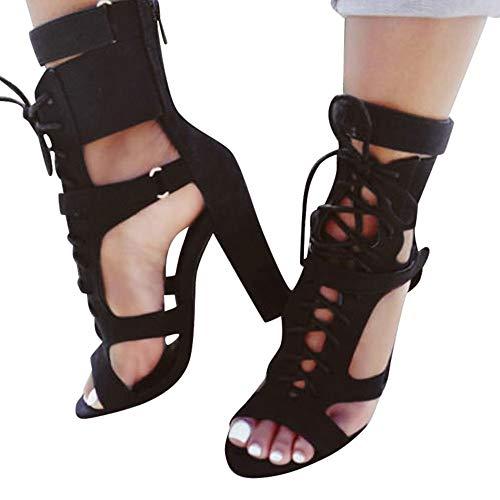 Sandales Pointus Femmes Zip Office Chaussures Noir Hauts Talons Solides À RaRwpqrP