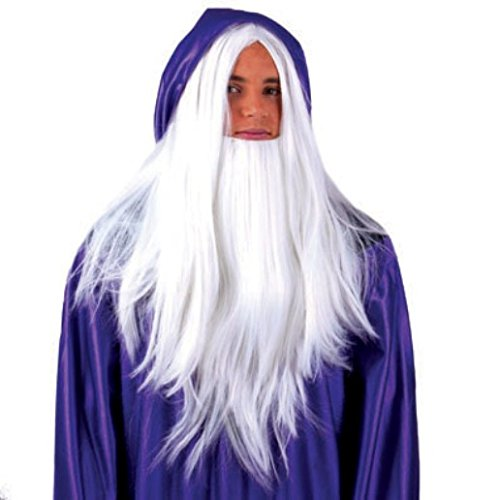 Beard Costume Dumbledore (Warlock Wig & White Wizard)