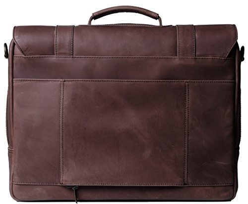 Genuine Leather Messenger Laptop Bag/Briefcase for Men, LOGAN, fits 15.4 inch Laptop, adjustable strap, 16 inch by 12 inch by 4 inch (Chestnut) by Ladderback by Ladderback (Image #1)