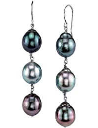 14k Gold Round Genuine Multicolor Tahitian South Sea Cultured Pearl Drop Tincup Earrings Set for Women