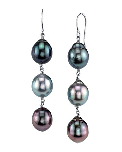 THE PEARL SOURCE 14K Gold 8-9mm Drop Multicolor Tahitian South Sea Cultured Pearl Drop Tincup Earrings for Women
