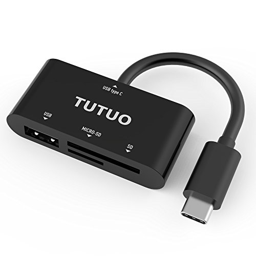 TUTUO USB C Card Reader, Type C to USB A HUB Converter OTG Adapter for Macbook Pro,SDXC, SDHC, SD, MMC, RS-MMC, Micro SDXC, Micro SD(TF), Micro SDHC, UHS-I Cards