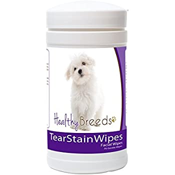 Healthy Breeds Dog Tear Stain Remover Wipes for Maltese - Over 100 Breeds - Facial Eye Cleaner - 70 Wipes - Cleans Crust Stains Mucus Saliva - Mild Gentle Fragrance Free