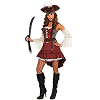Amscan 844604 Disfraz de Pirata Castaway Adulto, Pequeño (2-4), Negro