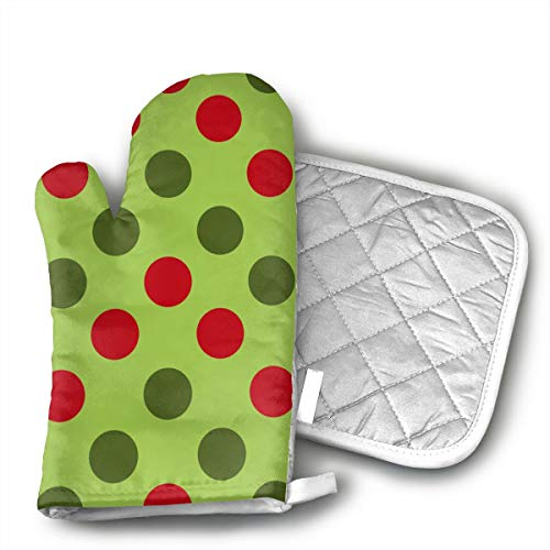 LALABULU Oven Mitts Christmas Green Polka Dot Non-Slip Silicone Oven Mitts, Extra Long Kitchen Mitts, Heat Resistant to 500Fahrenheit Degrees Kitchen Oven ()