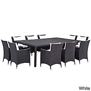 Modway Gather Synthetic Rattan Outdoor Patio Dining Set (11 Piece Set) Espresso White
