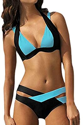 V.sports Women's CrissCross Double Colored Padded Bikini Set Halter Swimsuit