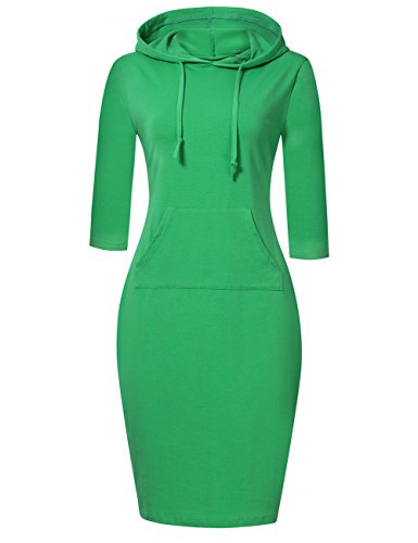 (MISSKY Sweatshirt for Women Hoodies for Women Pullover Hoodie Striped Dress 3 4 Long Sleeve Green Dresses for Women Slim Pocket Casual Dress (XL, Green))