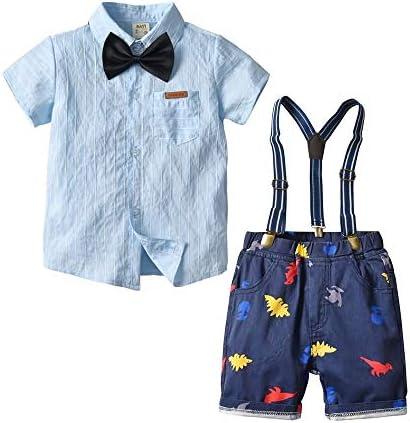 ボーイズキッズツーピースセット、蝶ネクタイ半袖シャツ+漫画サスペンダーショートパンツ、2-7年#214