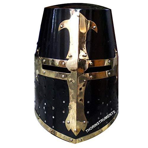 Medieval Crusader Halloween Templar Knight Helmet with Black Finish Brass Design