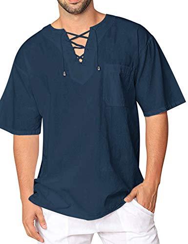 COOFANDY Mens Fashion T Shirt Cotton Tee Hippie Shirts Short Sleeve Beach Shirt ()