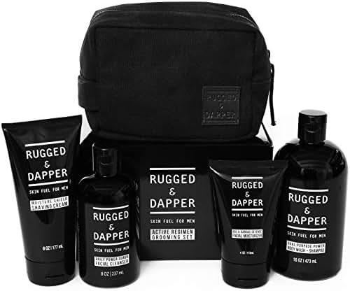 RUGGED & DAPPER Active Regimen Grooming Set for Men | Complete Skincare Kit includes Toiletry Dopp Bag